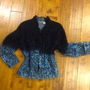 Tantrums XL Paisley Denim and Velvet Jacket